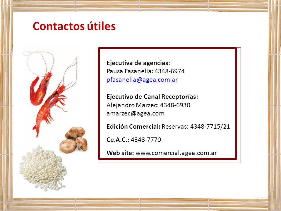 Contactos útiles Ejecutiva de agencias: Pausa Fasanella: 4348-6974