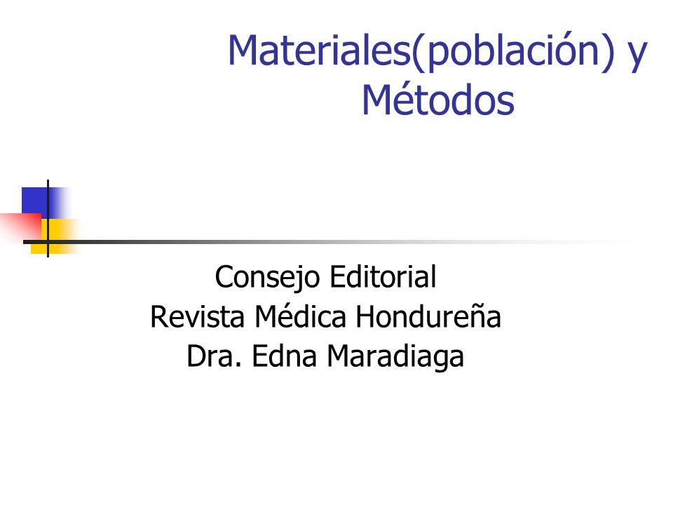 Materiales(población) y Métodos