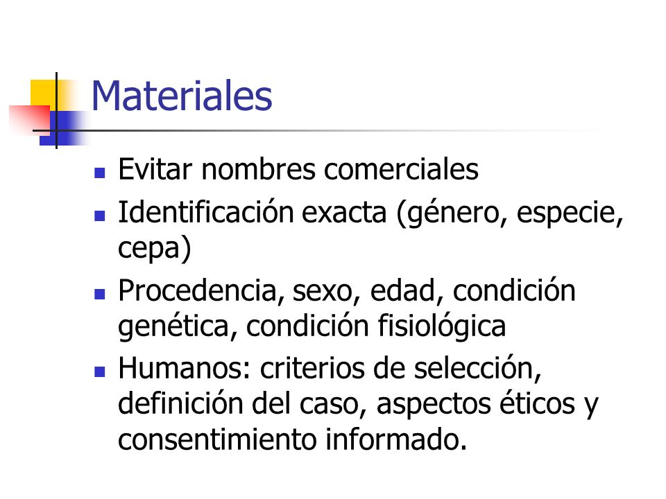 Materiales Evitar nombres comerciales