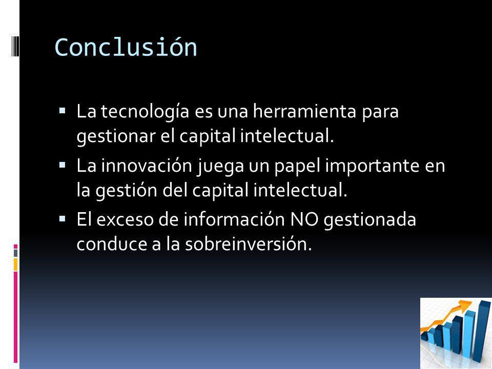 Conclusión La tecnología es una herramienta para gestionar el capital intelectual.