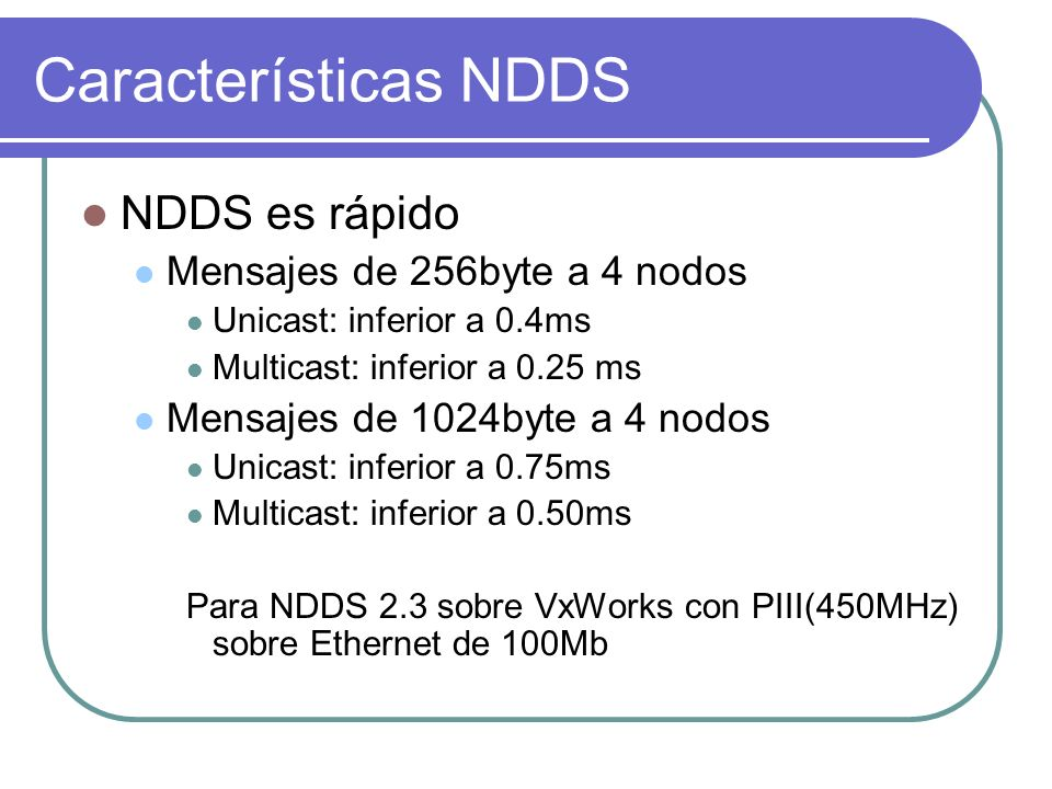 Características NDDS NDDS es rápido Mensajes de 256byte a 4 nodos