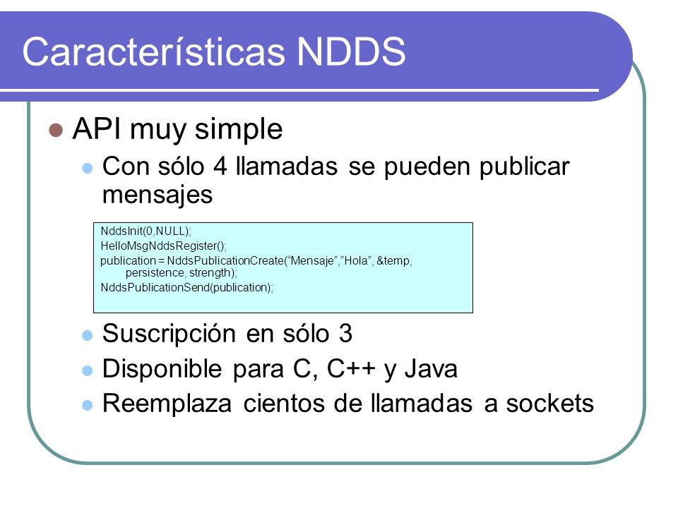 Características NDDS API muy simple