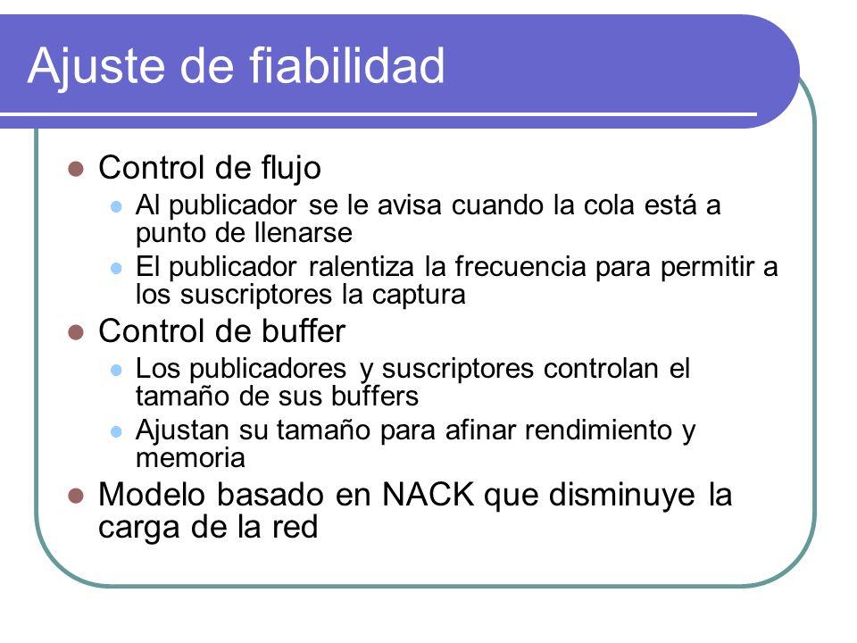 Ajuste de fiabilidad Control de flujo Control de buffer