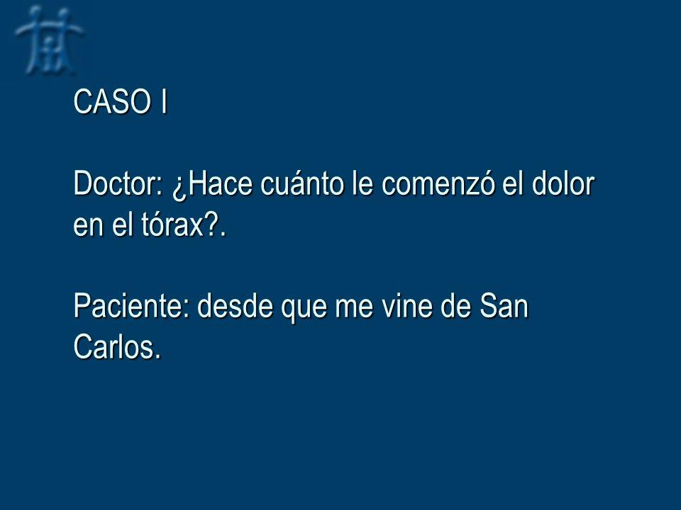 CASO I Doctor: ¿Hace cuánto le comenzó el dolor en el tórax