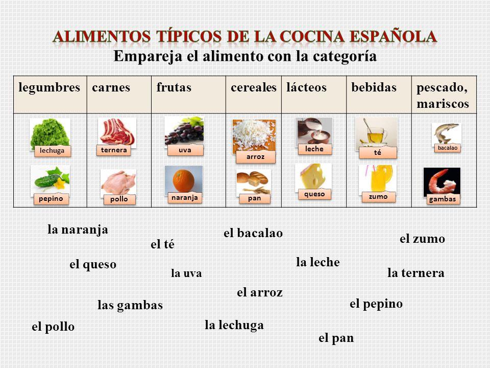 Alimentos típicos de la cocina española Empareja el alimento con la categoría