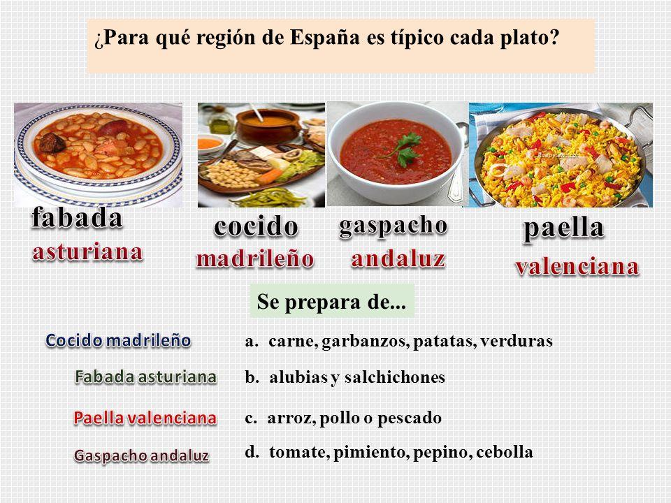 fabada cocido paella gaspacho asturiana madrileño andaluz valenciana