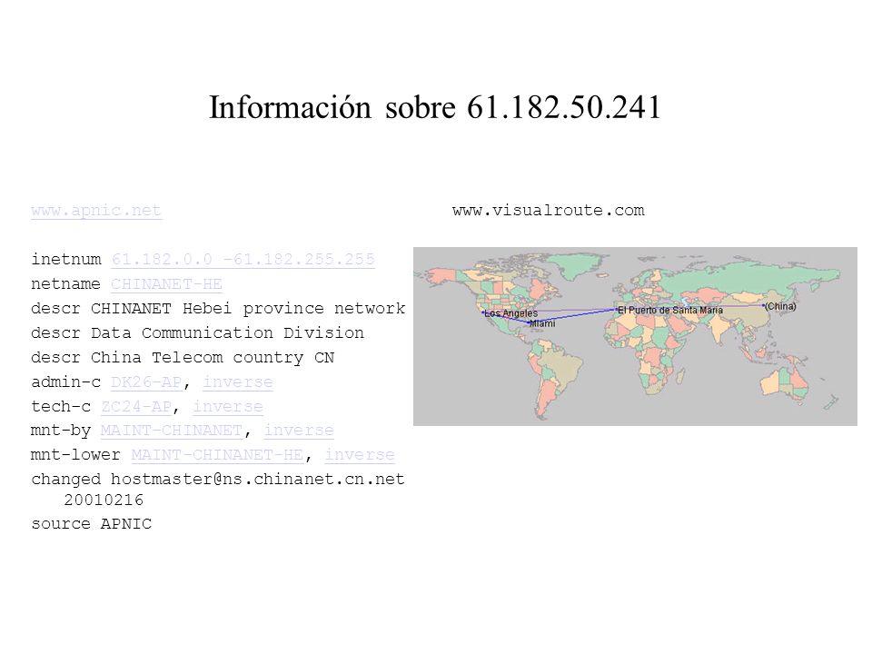 Información sobre 61.182.50.241 www.apnic.net