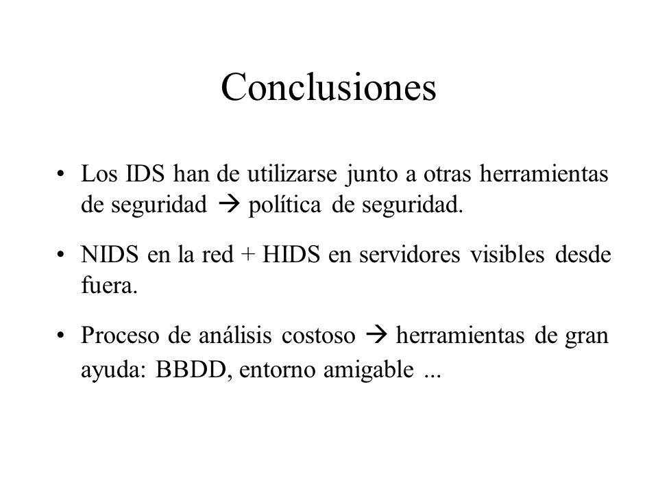 Conclusiones Los IDS han de utilizarse junto a otras herramientas de seguridad  política de seguridad.