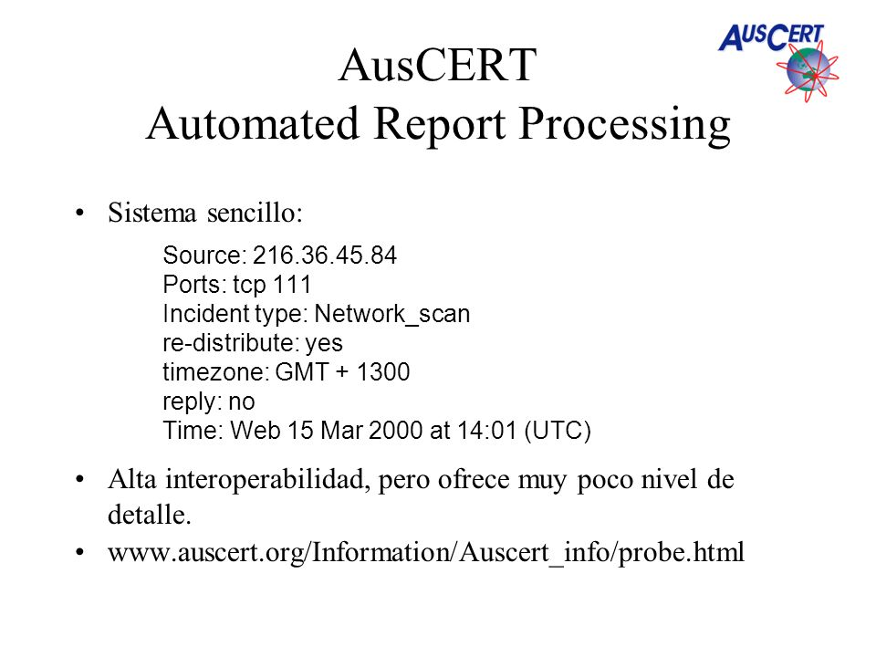 AusCERT Automated Report Processing