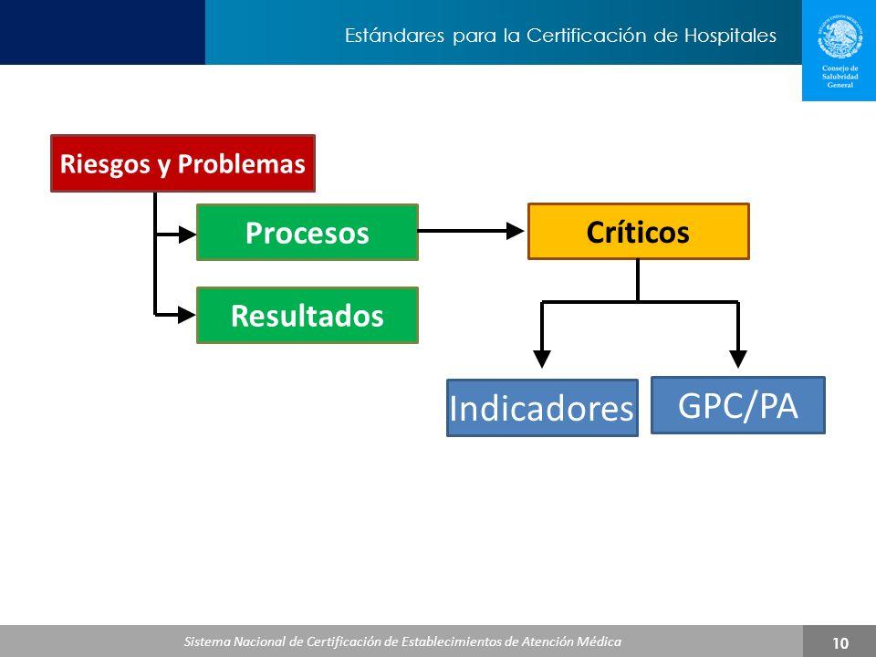 GPC/PA Indicadores Procesos Críticos Resultados Riesgos y Problemas