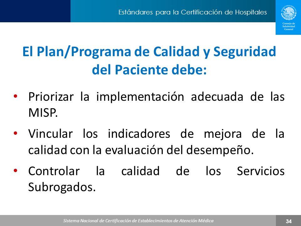 El Plan/Programa de Calidad y Seguridad del Paciente debe: