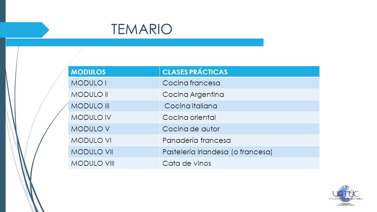 TEMARIO MODULOS CLASES PRÁCTICAS MODULO I Cocina francesa MODULO II