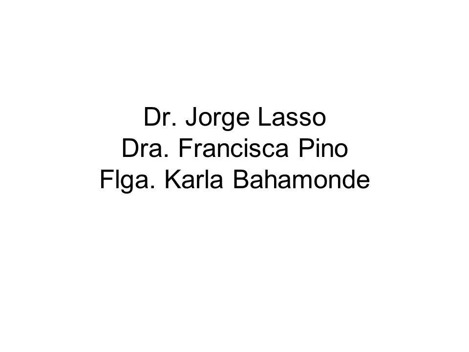 Dr. Jorge Lasso Dra. Francisca Pino Flga. Karla Bahamonde