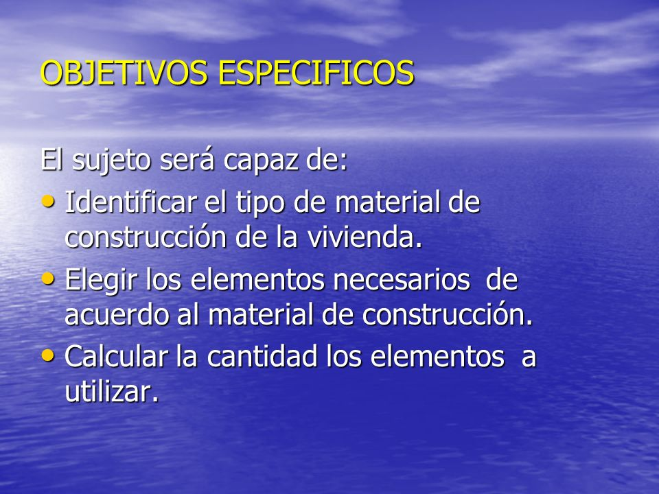 OBJETIVOS ESPECIFICOS