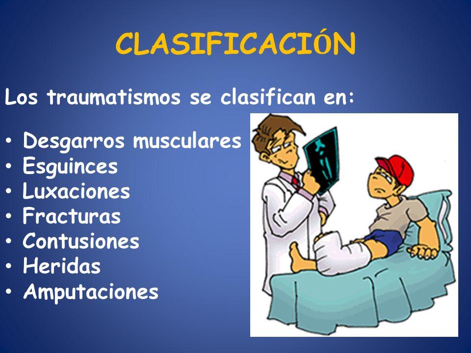 CLASIFICACIÓN Los traumatismos se clasifican en: Desgarros musculares
