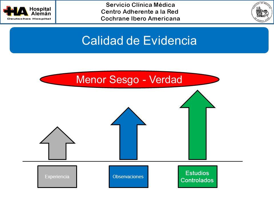 Calidad de Evidencia Menor Sesgo - Verdad Estudios Controlados