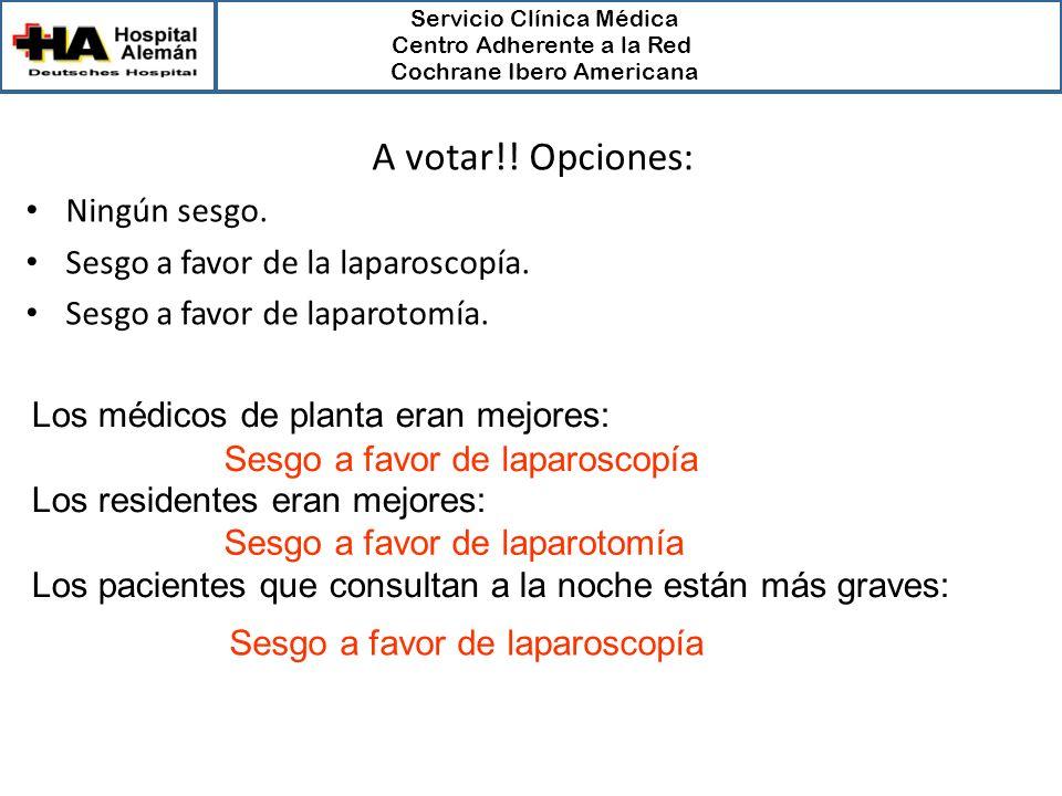 A votar!! Opciones: Ningún sesgo. Sesgo a favor de la laparoscopía.