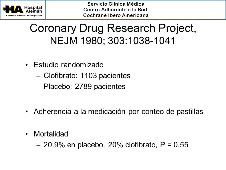 Coronary Drug Research Project, NEJM 1980; 303:1038-1041