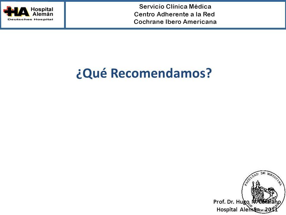 ¿Qué Recomendamos Prof. Dr. Hugo N. Catalano Hospital Alemán - 2011