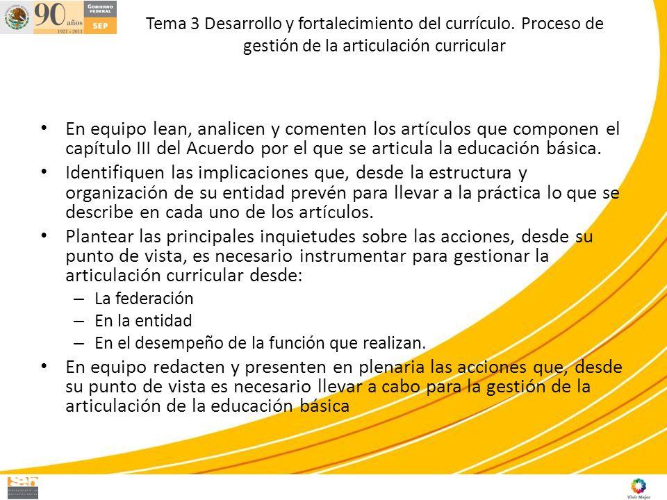 Tema 3 Desarrollo y fortalecimiento del currículo