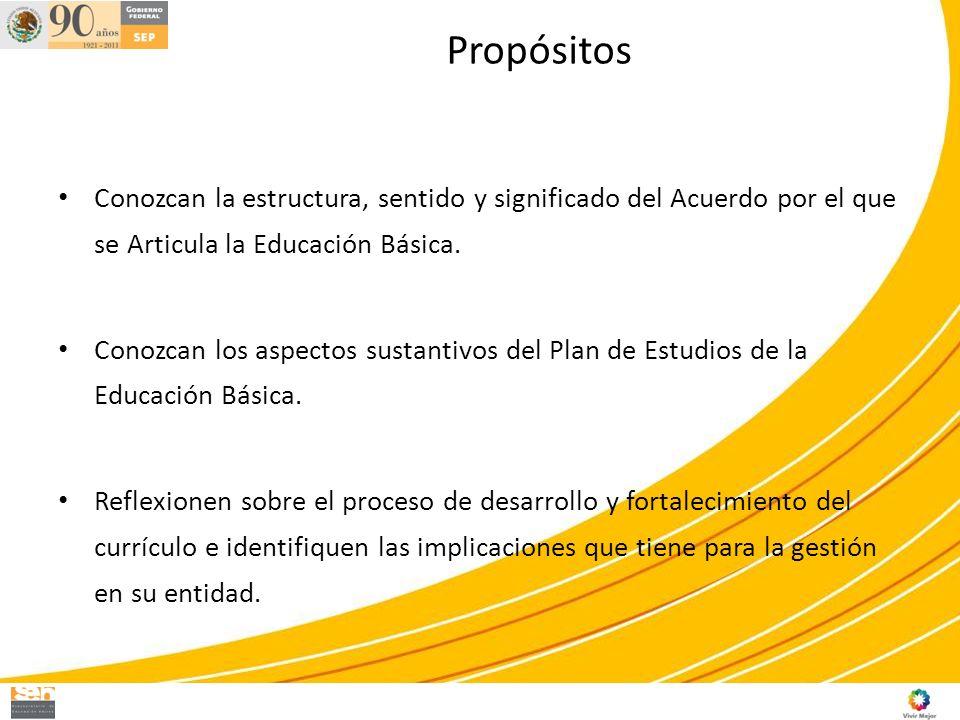 Propósitos Conozcan la estructura, sentido y significado del Acuerdo por el que se Articula la Educación Básica.
