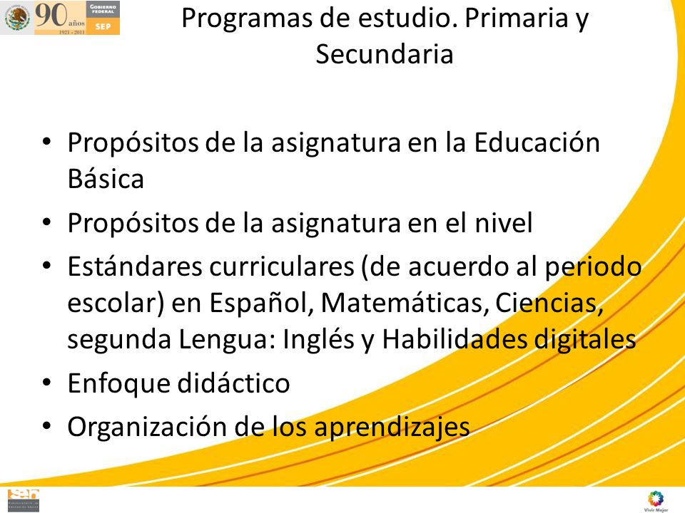 Programas de estudio. Primaria y Secundaria