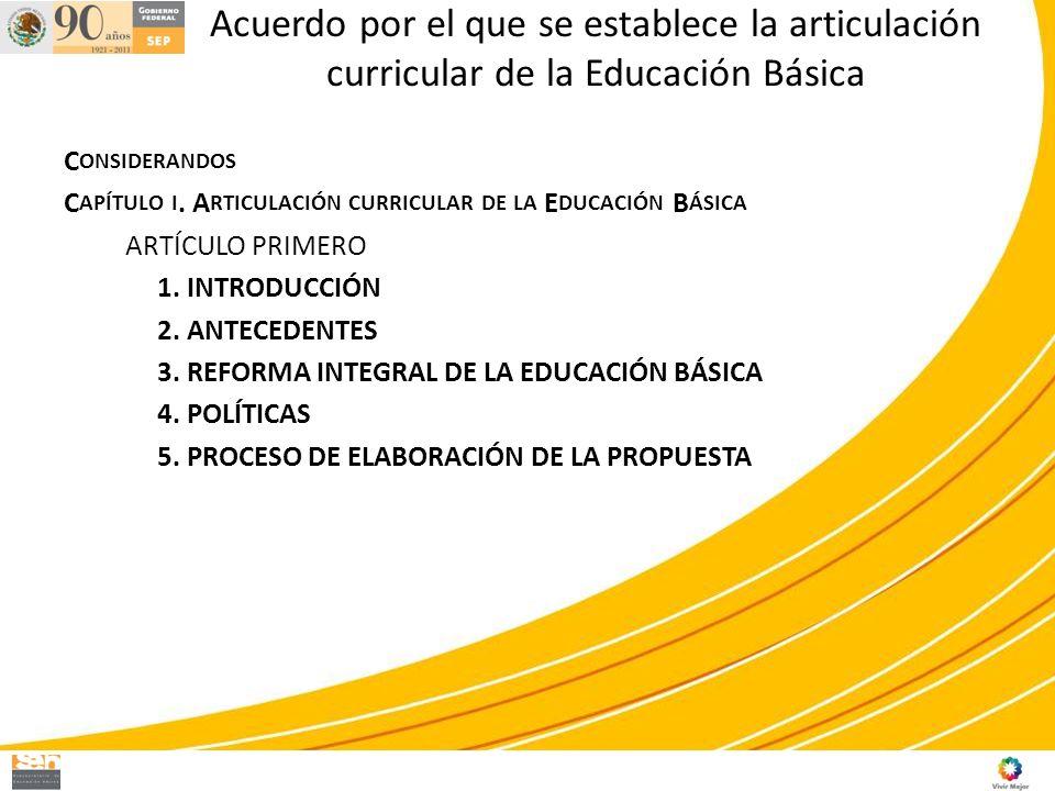 Acuerdo por el que se establece la articulación curricular de la Educación Básica