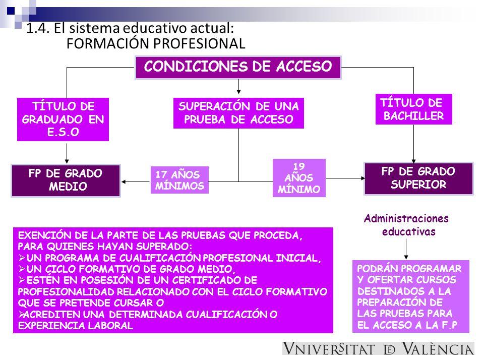1.4. El sistema educativo actual: FORMACIÓN PROFESIONAL