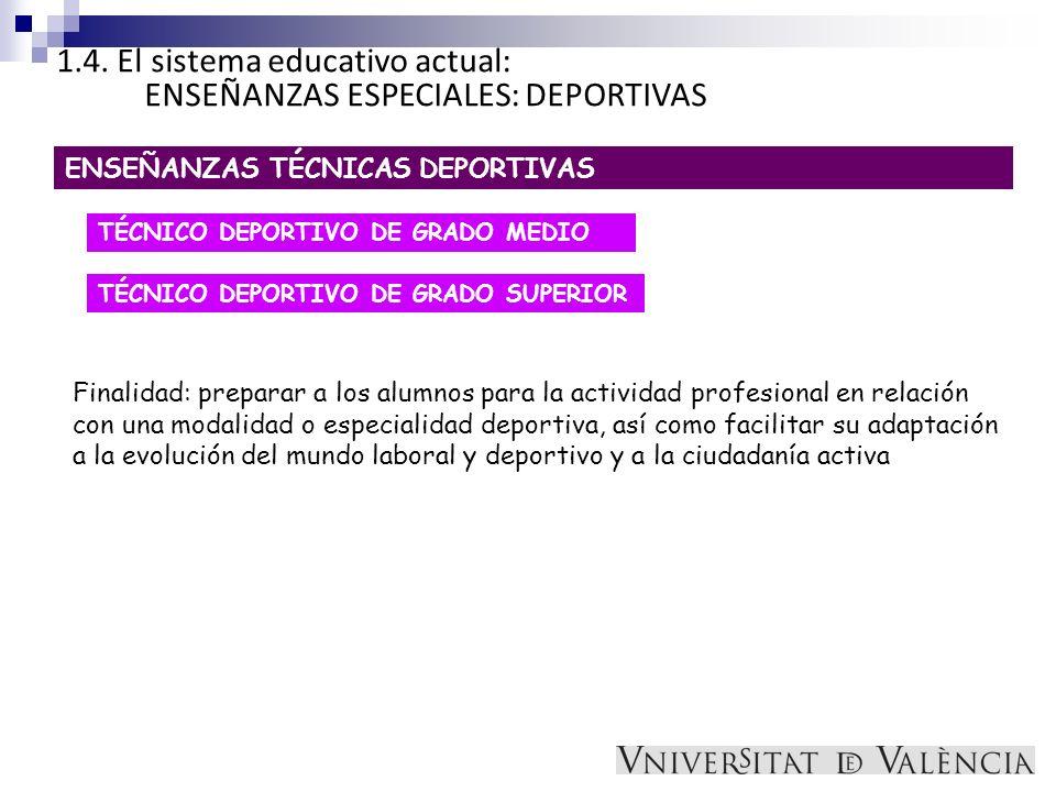 1.4. El sistema educativo actual: ENSEÑANZAS ESPECIALES: DEPORTIVAS