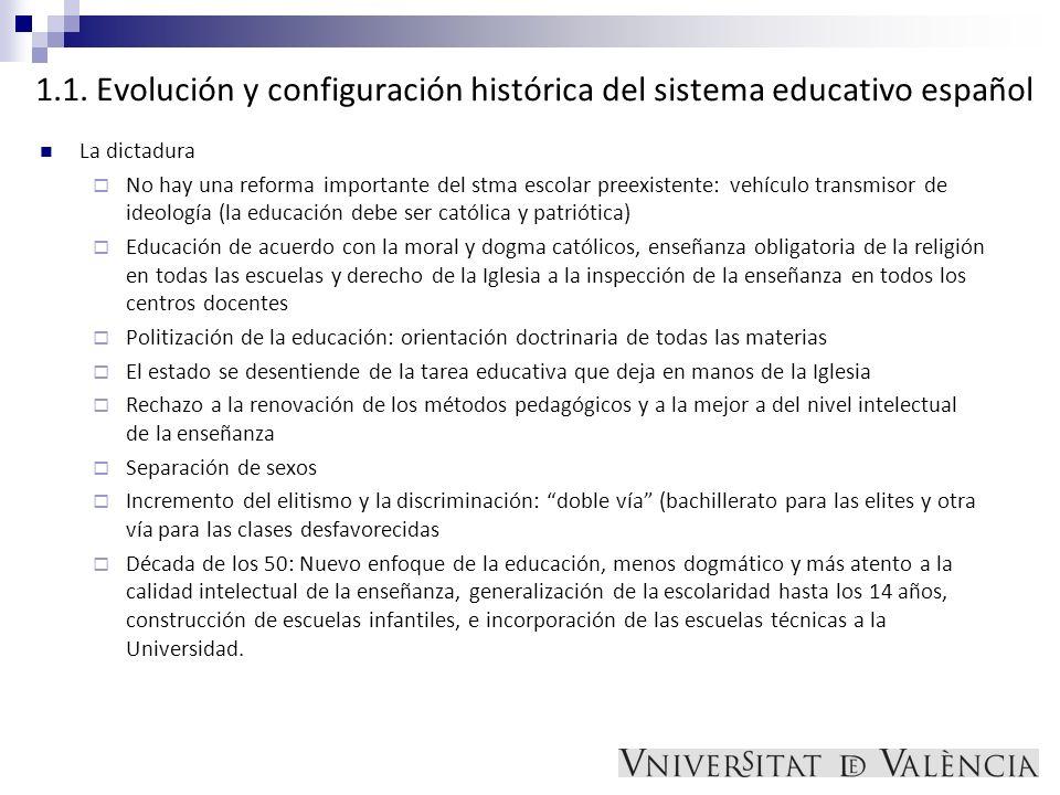 1.1. Evolución y configuración histórica del sistema educativo español
