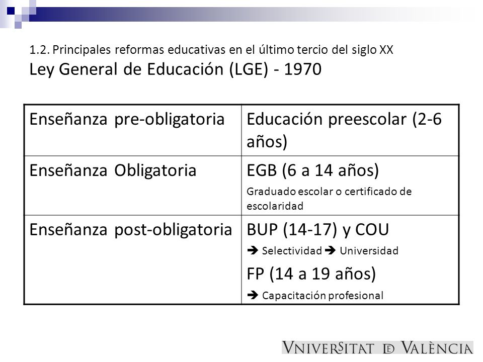 Enseñanza pre-obligatoria Educación preescolar (2-6 años)