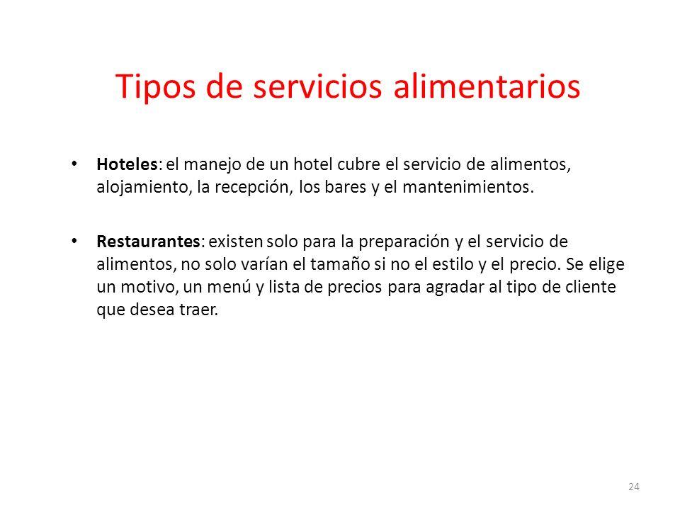Tipos de servicios alimentarios