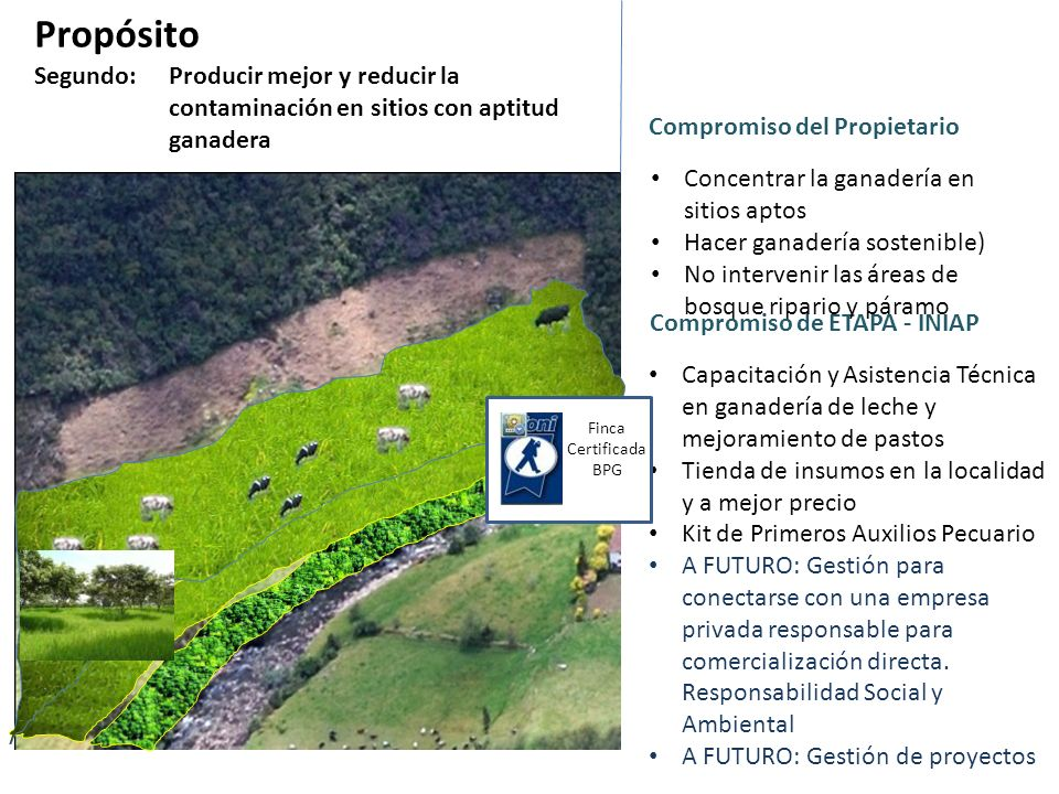 Propósito Segundo: Producir mejor y reducir la contaminación en sitios con aptitud ganadera. Compromiso del Propietario.