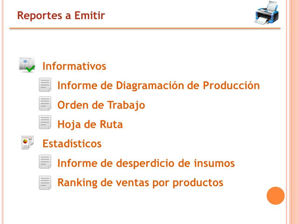 Reportes a Emitir Informativos. Informe de Diagramación de Producción. Orden de Trabajo. Hoja de Ruta.