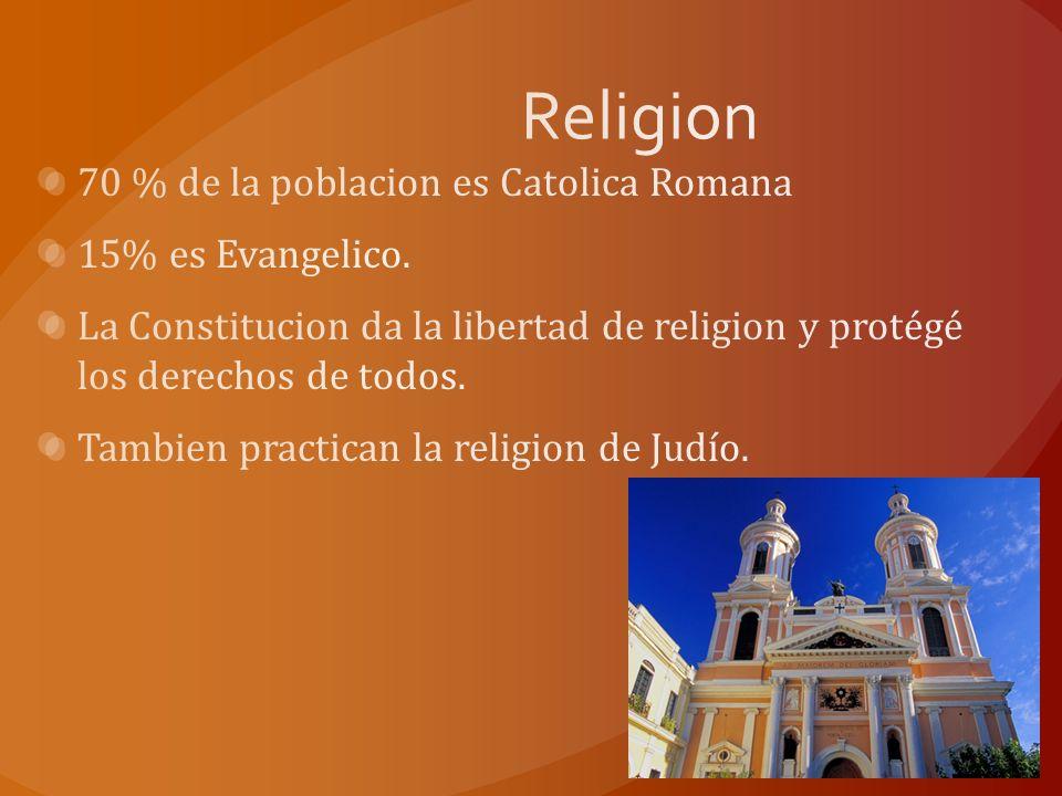 Religion 70 % de la poblacion es Catolica Romana 15% es Evangelico.