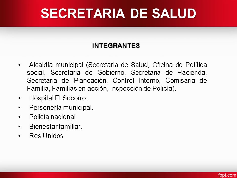 SECRETARIA DE SALUD INTEGRANTES