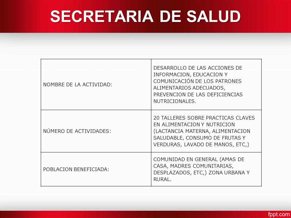 SECRETARIA DE SALUD NOMBRE DE LA ACTIVIDAD: