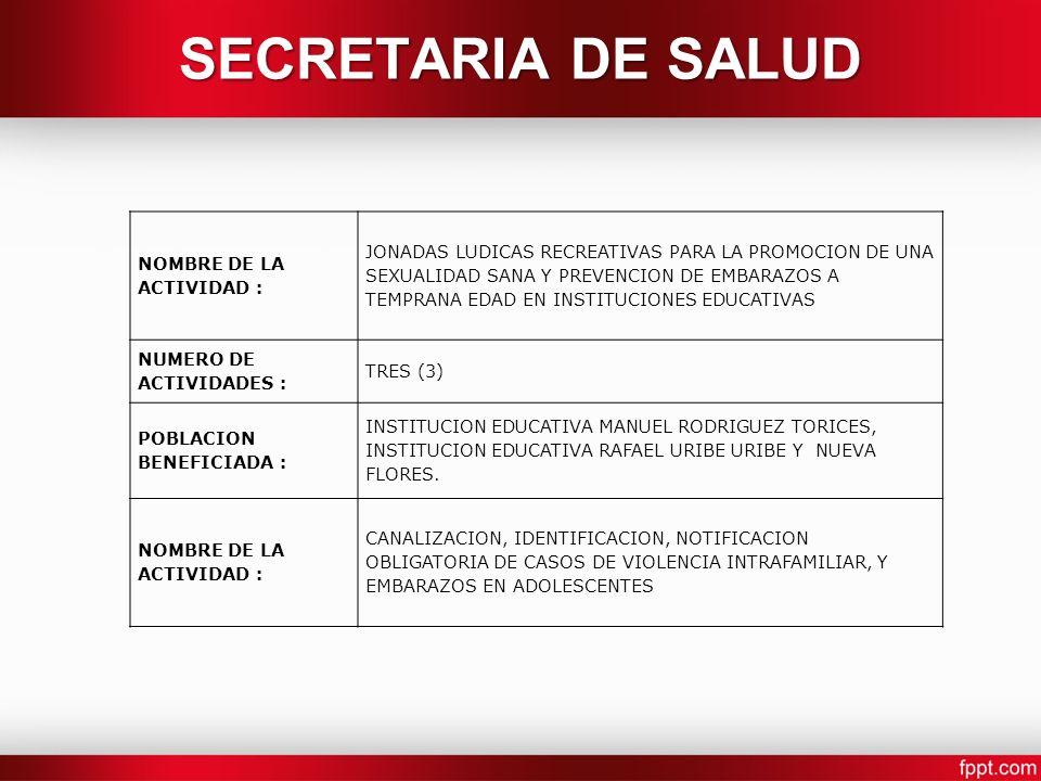 SECRETARIA DE SALUD NOMBRE DE LA. ACTIVIDAD :