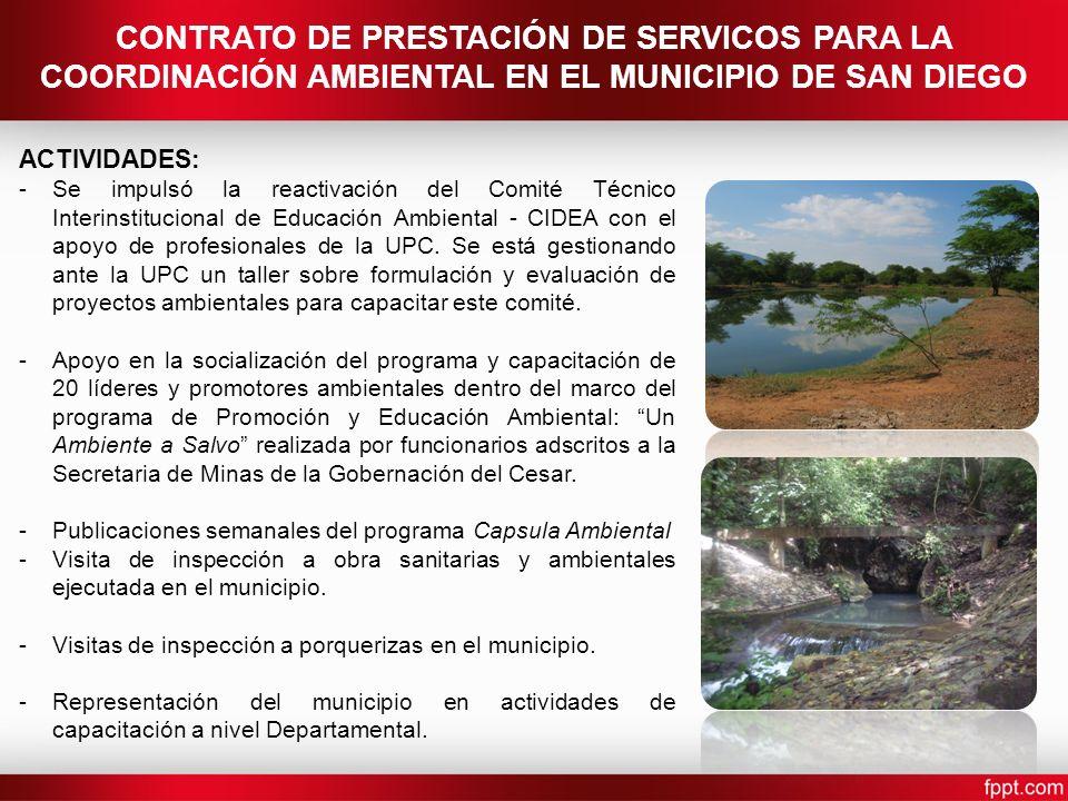 CONTRATO DE PRESTACIÓN DE SERVICOS PARA LA COORDINACIÓN AMBIENTAL EN EL MUNICIPIO DE SAN DIEGO