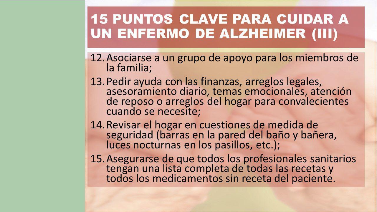 15 PUNTOS CLAVE PARA CUIDAR A UN ENFERMO DE ALZHEIMER (III)