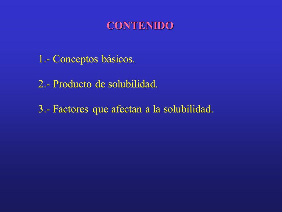 CONTENIDO 1.- Conceptos básicos. 2.- Producto de solubilidad.