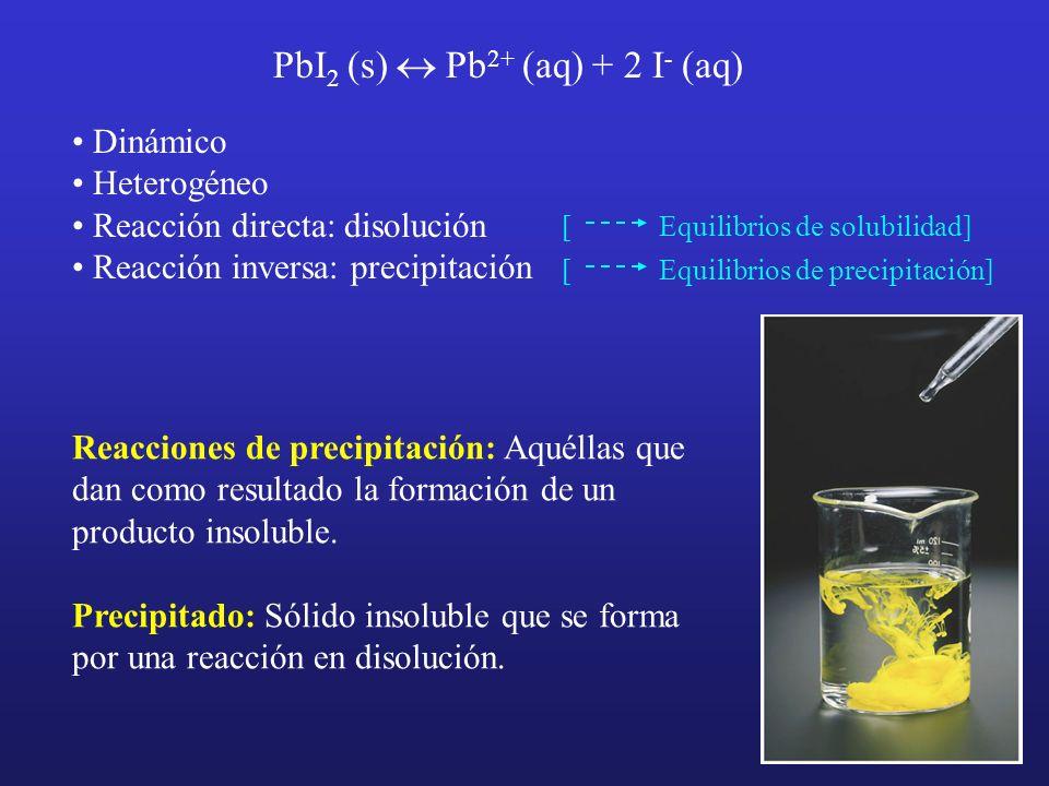 PbI2 (s) « Pb2+ (aq) + 2 I- (aq)