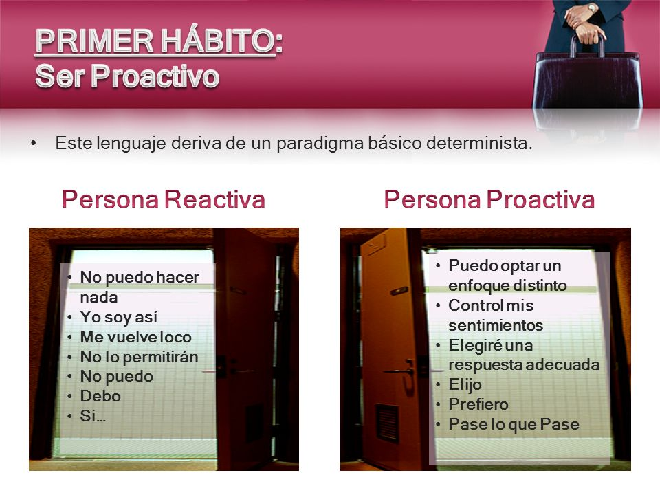 PRIMER HÁBITO: Ser Proactivo Persona Reactiva Persona Proactiva