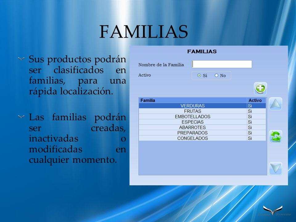 FAMILIAS Sus productos podrán ser clasificados en familias, para una rápida localización.