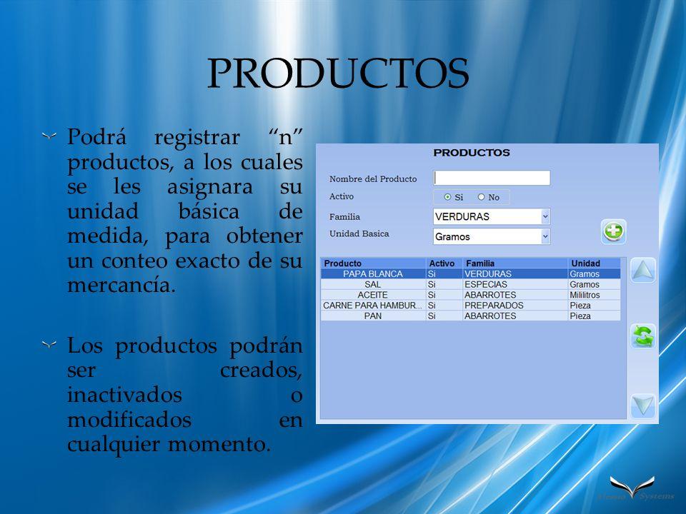 PRODUCTOS Podrá registrar n productos, a los cuales se les asignara su unidad básica de medida, para obtener un conteo exacto de su mercancía.