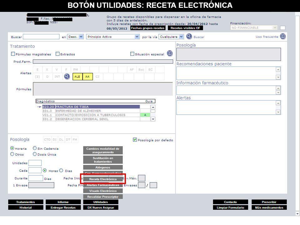 BOTÓN UTILIDADES: RECETA ELECTRÓNICA
