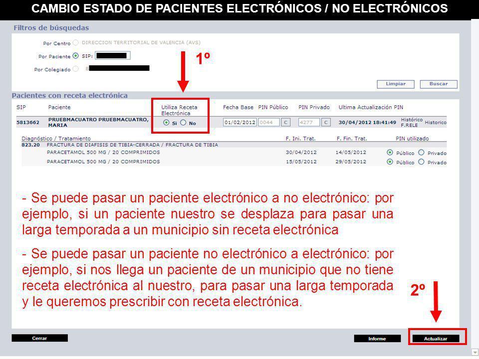 CAMBIO ESTADO DE PACIENTES ELECTRÓNICOS / NO ELECTRÓNICOS