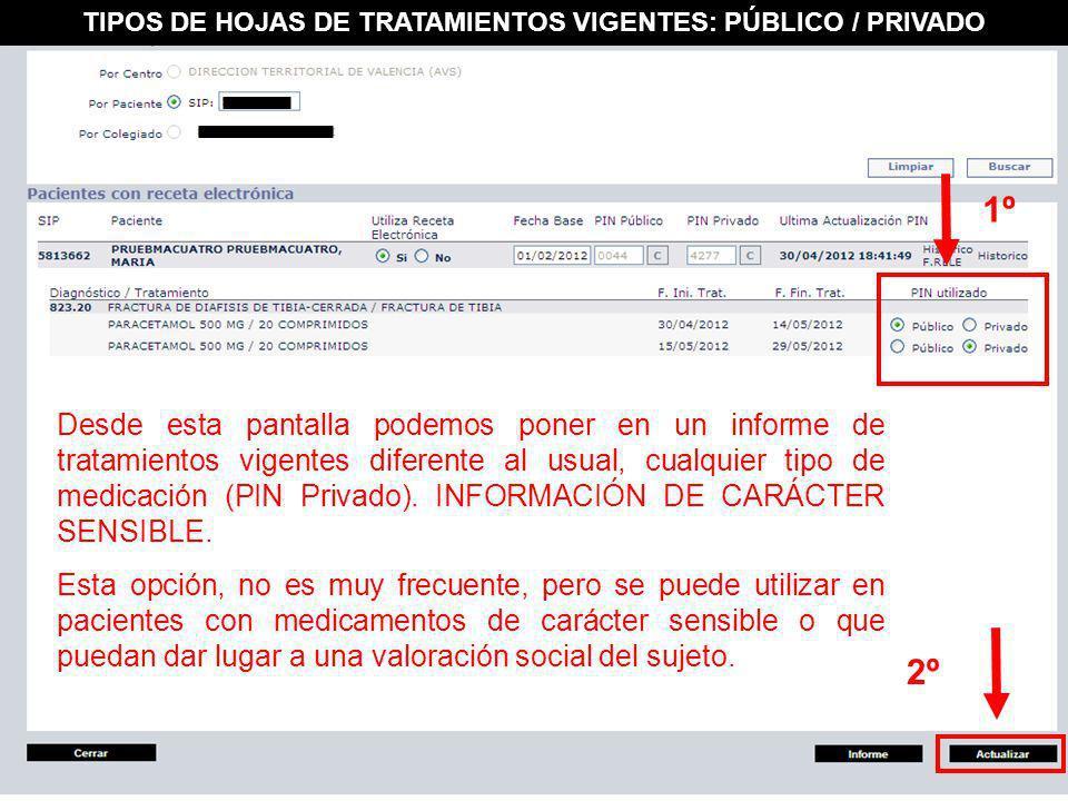 TIPOS DE HOJAS DE TRATAMIENTOS VIGENTES: PÚBLICO / PRIVADO
