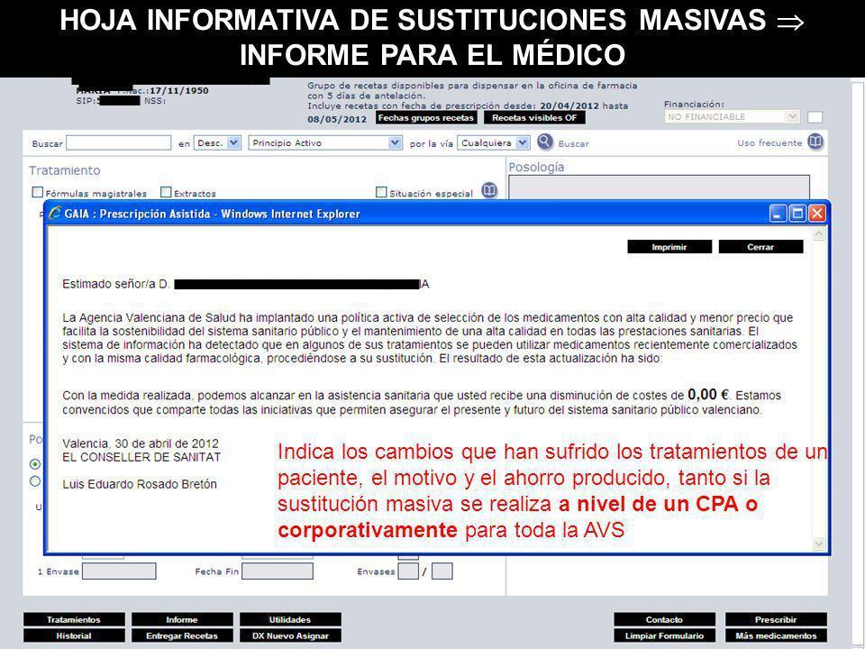 HOJA INFORMATIVA DE SUSTITUCIONES MASIVAS  INFORME PARA EL MÉDICO