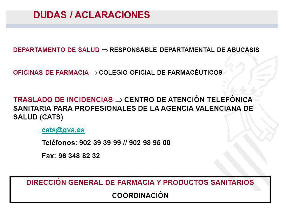 DIRECCIÓN GENERAL DE FARMACIA Y PRODUCTOS SANITARIOS